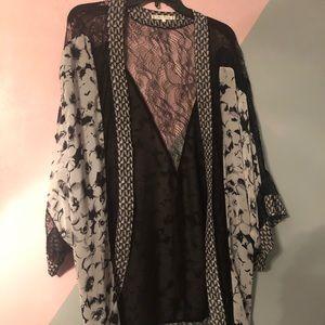 Black, white, and grey cardigan